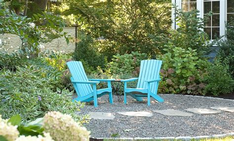 front yard sitting area blue chairs for a pop of color in the front yard seating