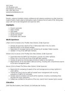 Bar Resume Exles by Professional Bar Supervisor Templates To Showcase Your Talent Myperfectresume