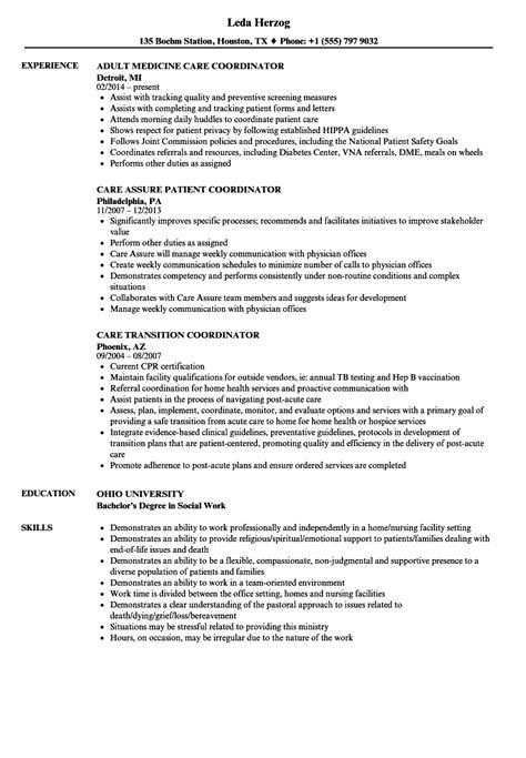 resume format for office coordinator patient care coordinator care resume sles velvet