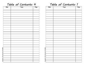 Printable Table Of Contents For Interactive Notebook