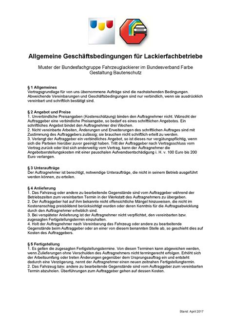 Muster Agb Schweiz Agb F 252 R Lackierfachbetriebe 252 Berarbeitet Stand April 2017 Bundesverband Farbe