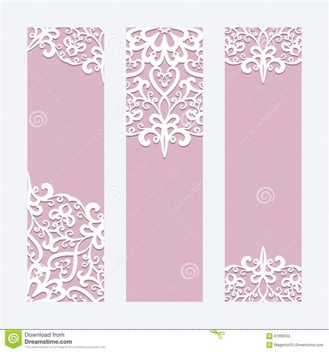 templates for cards lace tree cards wedding cards or banners with lace ornament stock vector