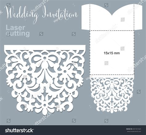 Vector Die Laser Cut Envelope Template Stock Vector 401551423 Shutterstock Laser Cut L Template