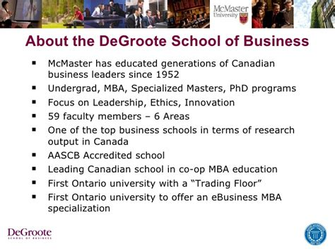 Mcmaster Mba Health by Eheatlh Khaled Hassanein