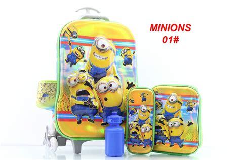 Tas Sekolah Anak 4 In 1 7d Minion tas import troly anak 3d fiber minions series hb0296 set 4 in 1 semi premium