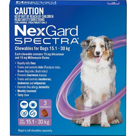nexgard chewables for dogs nexgard spectra chewables for dogs purple 15 1 30kg 3 pack