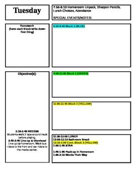 Lesson Plan Template For Block Schedule Week Time Frame By Kaytee Hill Lesson Plan Schedule Template
