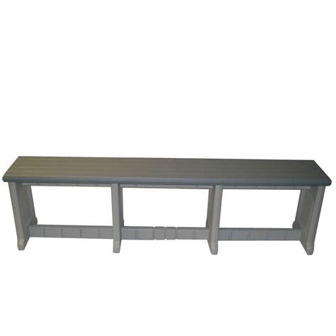 homedepot bench leisure accents 74 in gray resin patio bench lapb74 g the home depot
