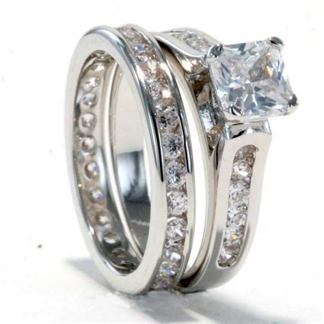 rhodium plated princess cz cubic zirconia eternity band