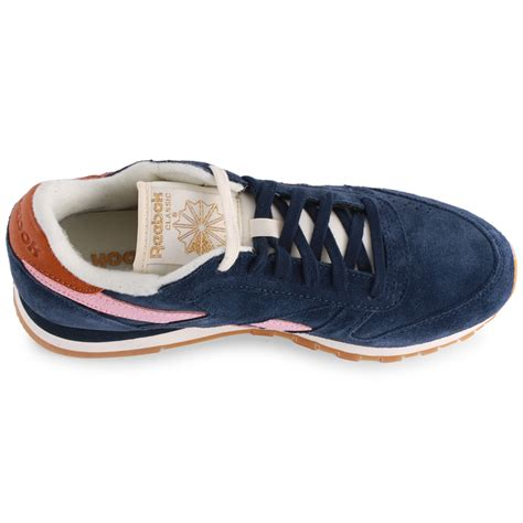 reebok classic leather womens suede navy pink trainers new