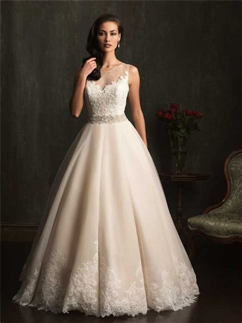 gown sheer illusion neckline chagne lace tulle