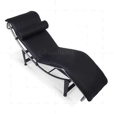 black chaise le corbusier style lc4 chaise longue black leather