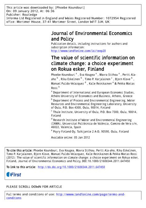Climate Change Experiment Results by The Value Of Scientific Information On Pdf
