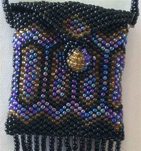 Handmade Beaded Bag - vintage handmade beaded amulet bag necklace 30 length