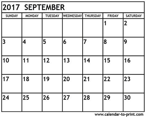 Calendar For Sept 2017 September 2017 Calendar Pdf Calendar Printable Free