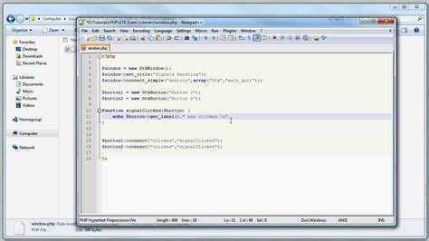 Tutorial Php Gtk | php tutorial php gtk signal handling click event youtube