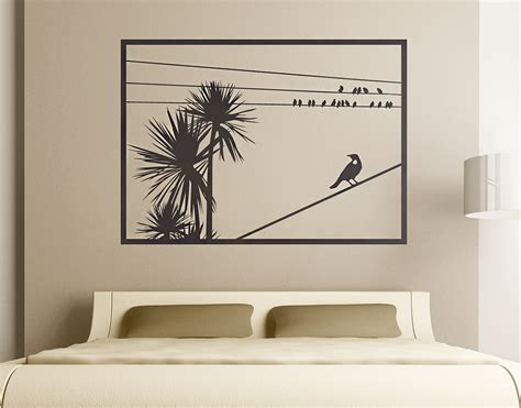 wall stickers nz cabbage tree with tui window your decal shop nz