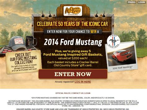 Country Sweepstakes 2014 - cracker barrel old country store 2014 ford mustang sweepstakes