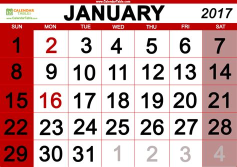 january 2017 days of the week and calendar calendar