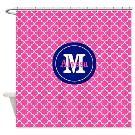 Pink And Navy Curtains Pink Navy Quatrefoil Personalized Shower Curtain