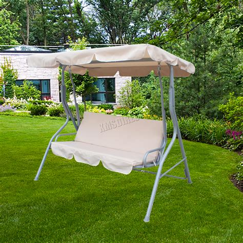 garden bench with canopy foxhunter garden metal swing hammock 3 seater chair bench