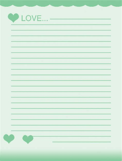 free printable paper templates free school writing paper template with green hearts and