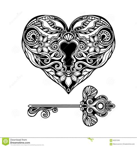 decorative key and lock stock vector image of decoration