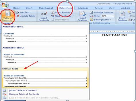 cara membuat daftar isi yang otomatis di word cara membuat daftar isi paling mudah dengan ms word