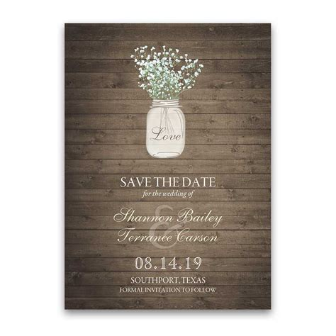 rustic card photography templates rustic jar wedding invitation with babys breath