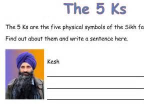 To 5ks by Sikhism The 5 Ks Worksheet By Louisehurley20 Teaching