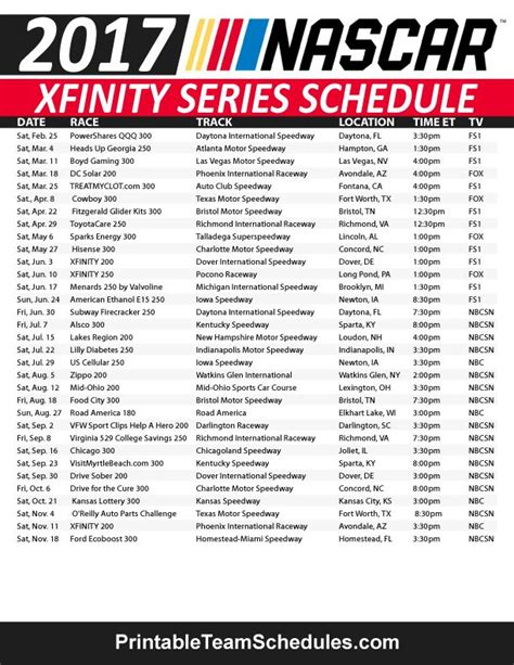 printable nascar xfinity schedule 2015 nascar xfinity series schedule 2017 print here http