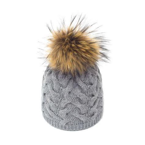 pomeranian fur grey fran 231 ais fur pom pom hat