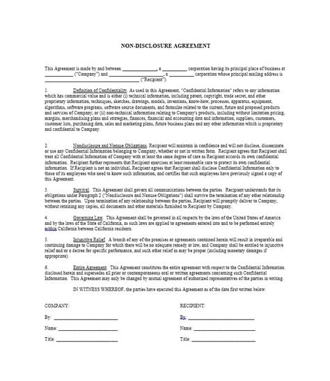 Disclosure Agreement Template 40 non disclosure agreement templates sles forms
