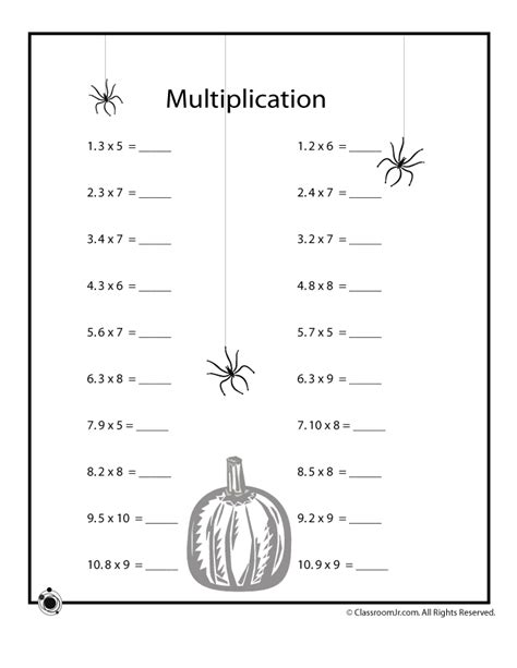 printable halloween multiplication worksheets halloween math worksheets decimal multiplication woo