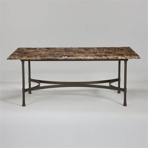 Biscayne Rectangular Dining Table With Dark Marble Top Marble Top Rectangular Dining Table