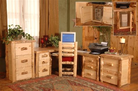 Rustic Home Office Furniture Log Furniture Rustic Home Office Home Pinterest