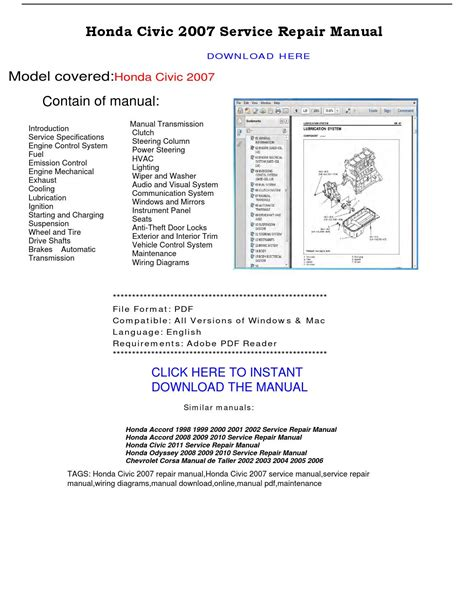 manual repair free 1998 honda civic parental controls honda civic 2007 service repair manual by repairmanualpdf issuu