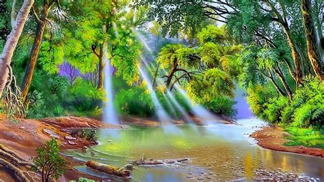nature river trees  green leaves sun rays art hd