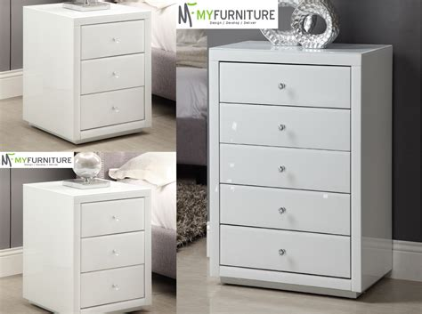 Bedroom Furniture Delivery Australia Wide Pair Mirrored White Glass Bedside Table 3 Drawers