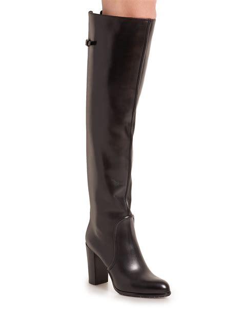sergio leather knee high buckle tab boots in black