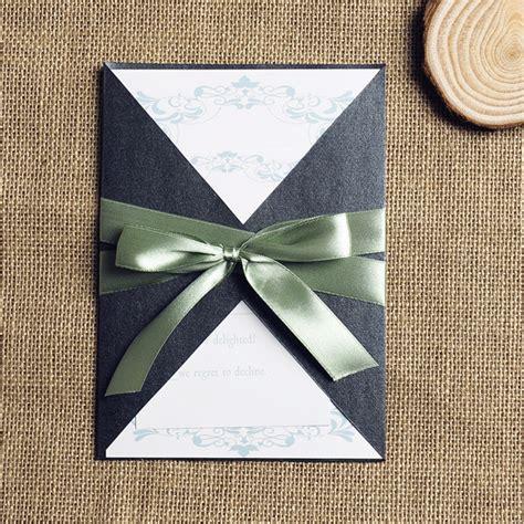 ribbon design for invitation card green swirl design wedding invitation with ribbon iwgy080