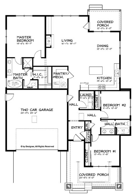 craftsman single story open floor plans single story