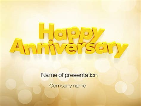 work anniversary template happy anniversary in yellow presentation template for