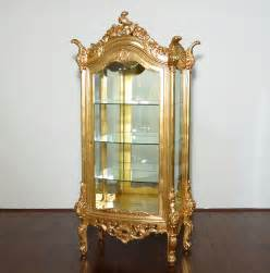 Gold Corner Curio Cabinet Real Gold Leaf Finish Ornate Curio Cabinet Display Vitrine