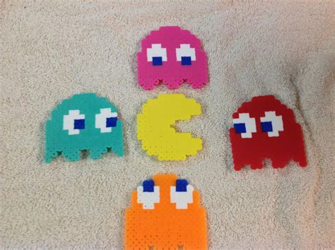 perler bead pacman pacman and ghosts perler by reflectiveless on deviantart