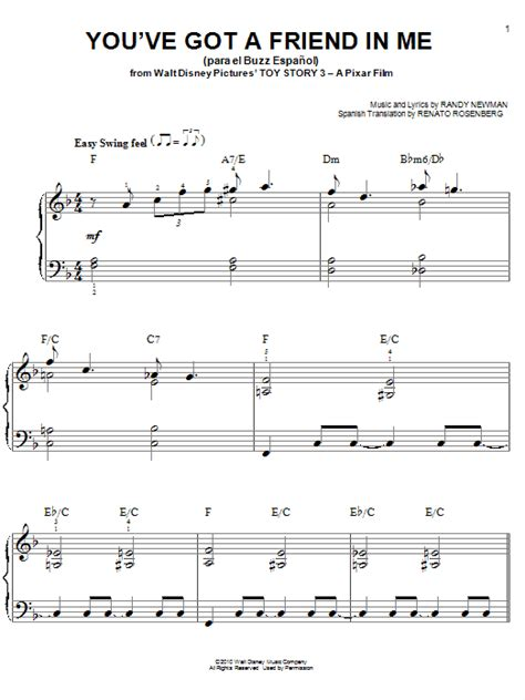 strumming pattern for you ve got a friend in me you ve got a friend in me para el buzz espanol sheet