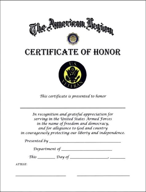 of honor card template certificate of honor template certificate templates