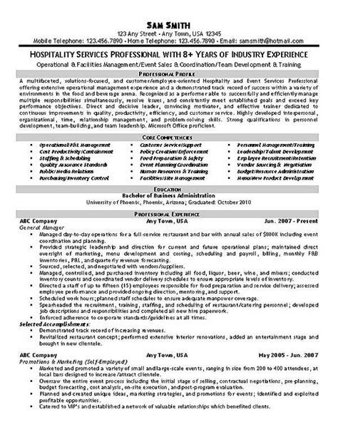 hospitality resume exle resume exles hospitality and search