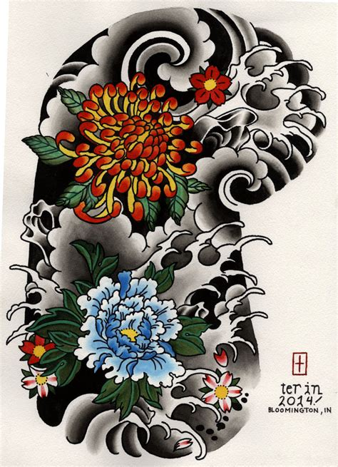 japanese rose tattoo designs japanese floral half sleeve design stuff to buy
