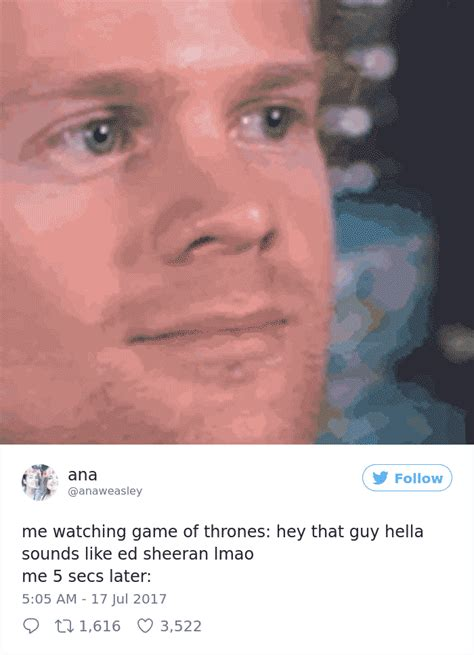 watch the game of thrones cast react to the purple 10 of the most hilarious reactions to ed sheeran s cameo